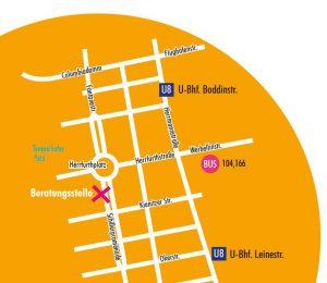 Stadtplanauszug mit der exPEERienced Teilhabeberatungsstelle